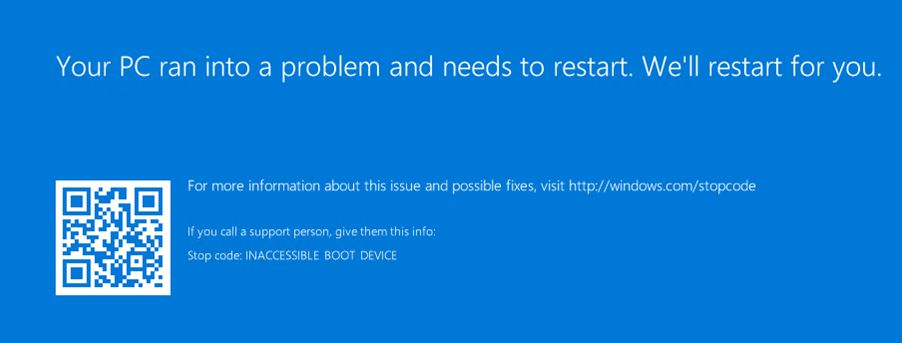 inaccessible boot device