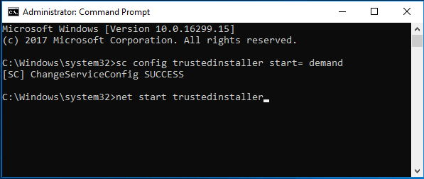 net start trustedinstaller