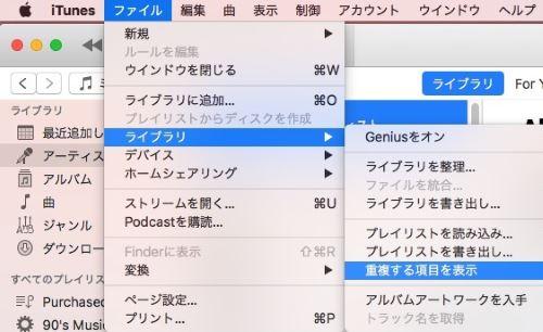 Mac iTunes ジャンク 重複 アイテム 削除