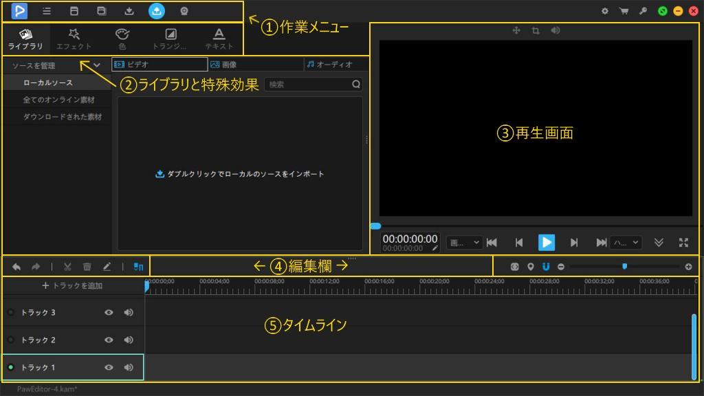動画 編集 メイン画面