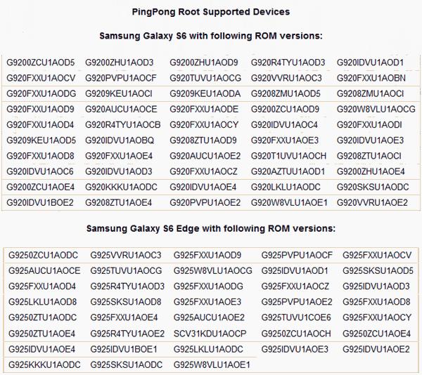 対応のS6/S6 Edge機種番号を確認