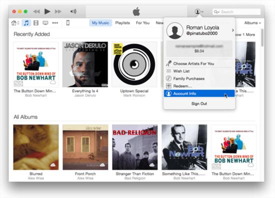 iTunesアカウント情報